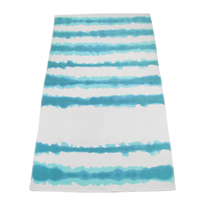 Turquoise Tie-Dye Striped Beach Towel