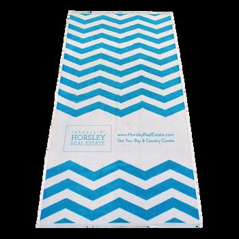 silkscreen imprint,  striped beach towels,