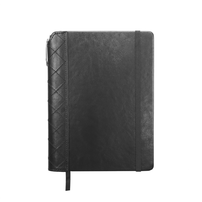 Black Quilted Faux Leather Journal with Pen