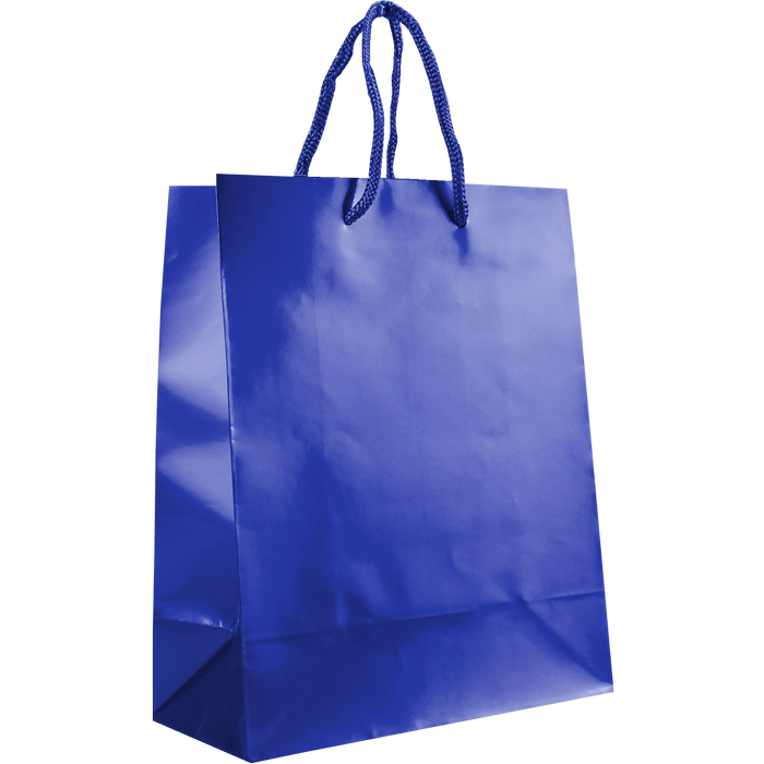 Royal Blue Small Glossy Shopper Bag