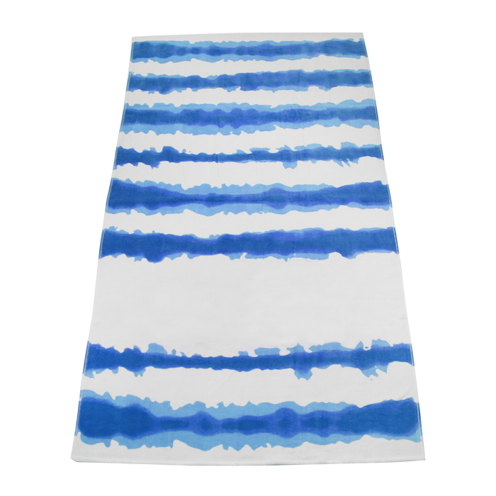Royal Tie-Dye Striped Beach Towel