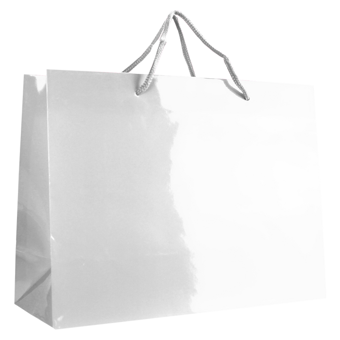 White Large Glossy Shopper Bag