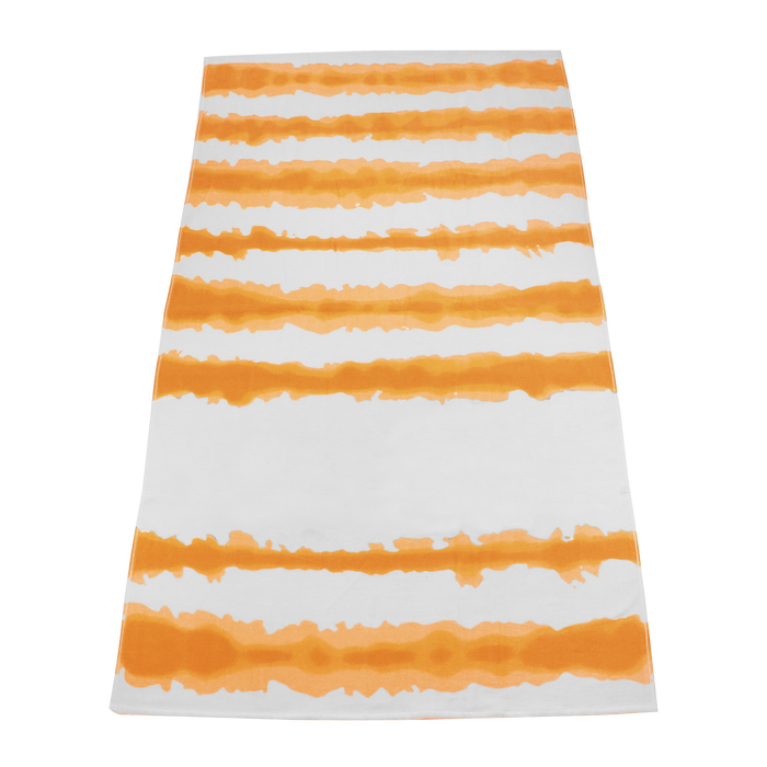 Orange Tie-Dye Striped Beach Towel