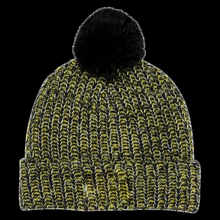 Black and Yellow Knit Knit Pom Beanie