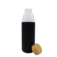 Black Glass Water Bottle with Bamboo Lid Thumb