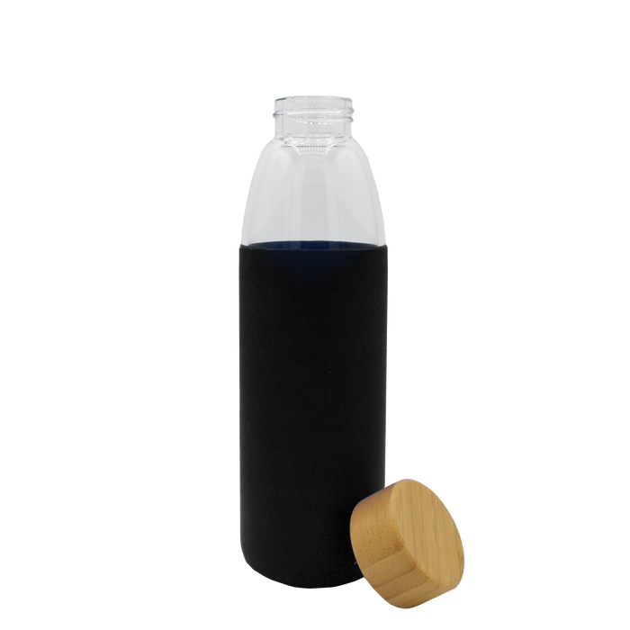 Black Glass Water Bottle with Bamboo Lid