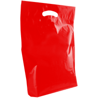 Red Medium Die Cut Plastic Bag Thumb