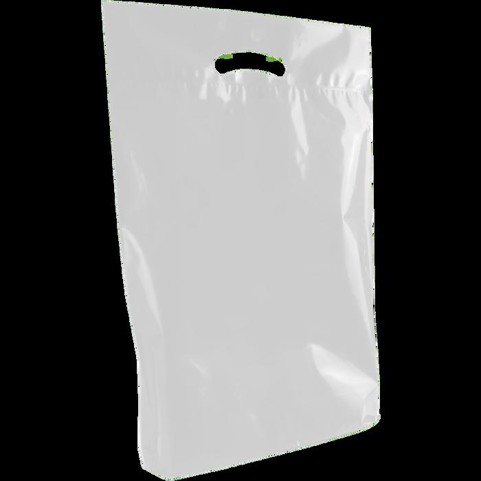 Frosted Clear Medium Eco-Friendly Die Cut Plastic Bag
