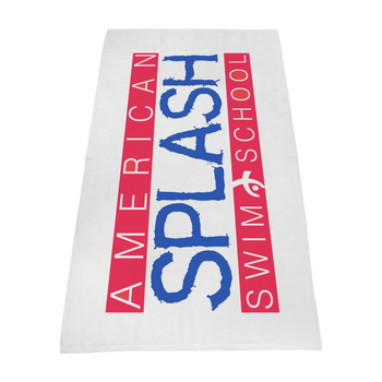 silkscreen imprint,  embroidery,  white beach towels,