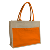 Orange Organic Jute Canvas Beach Tote Thumb