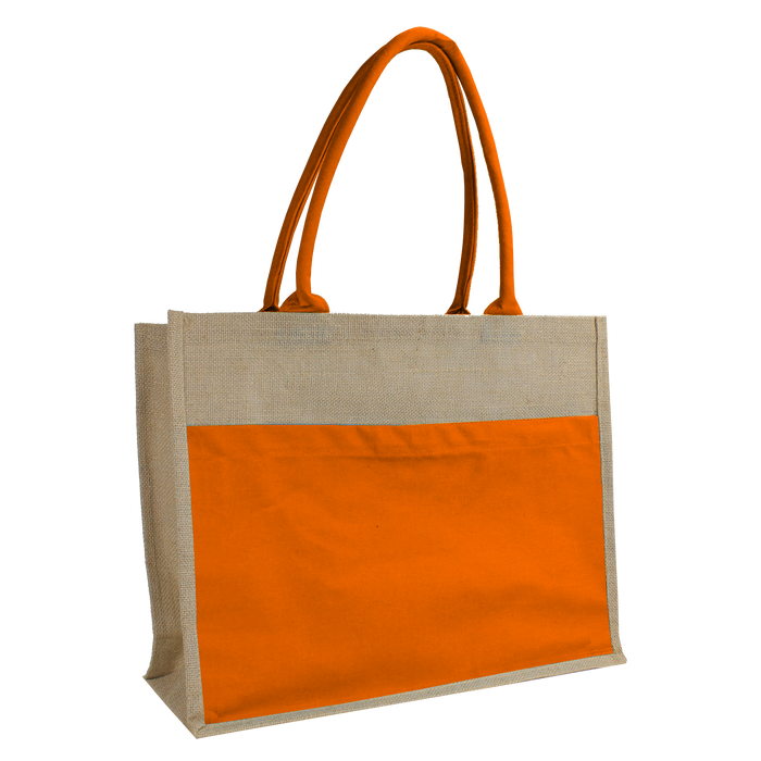 Orange Organic Jute Canvas Beach Tote