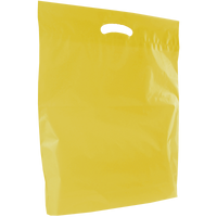 Yellow Large Eco-Friendly Die Cut Plastic Bag Thumb