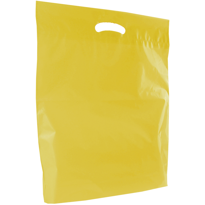 Yellow Large Eco-Friendly Die Cut Plastic Bag