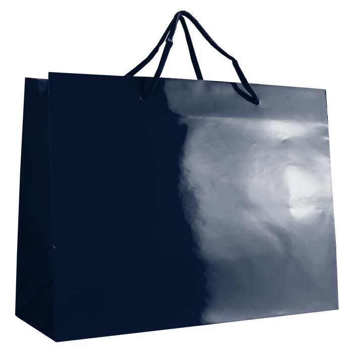 Navy Blue Large Glossy Shopper Bag