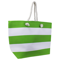 Lime Green Marina Striped Beach Tote Thumb