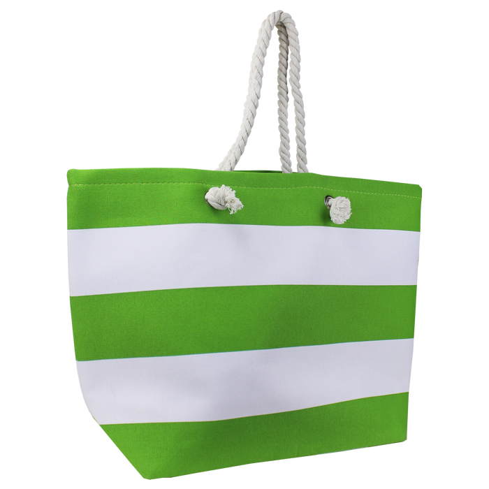 Lime Green Marina Striped Beach Tote