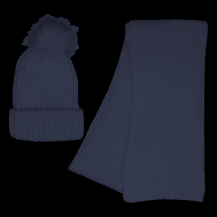Navy Cozy Knit Hat & Scarf Set