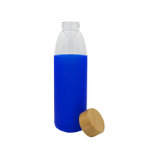 Blue Glass Water Bottle with Bamboo Lid Thumb