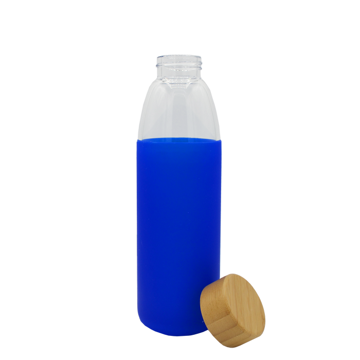 Blue Glass Water Bottle with Bamboo Lid