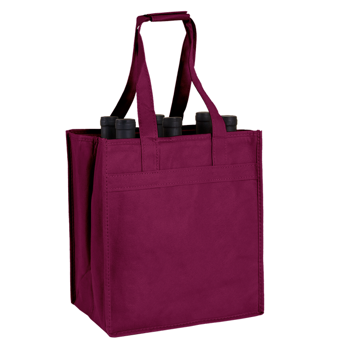 Burgundy 6 Bottle Wine Tote