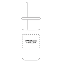 Glass Tumbler with Straw Thumb