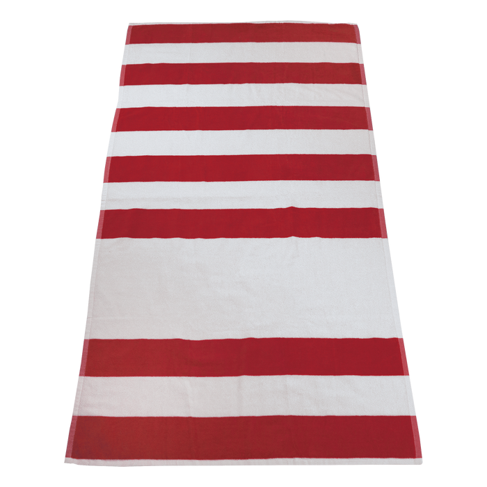 Red Horizon Striped Beach Towel