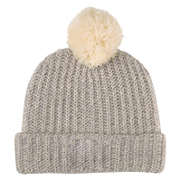 Natural and Gray Knit Knit Pom Beanie Thumb