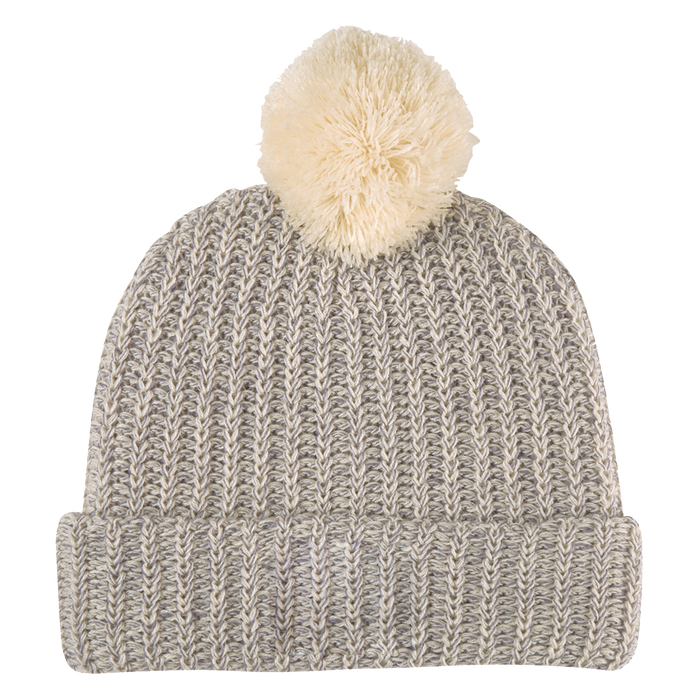 Natural and Gray Knit Knit Pom Beanie