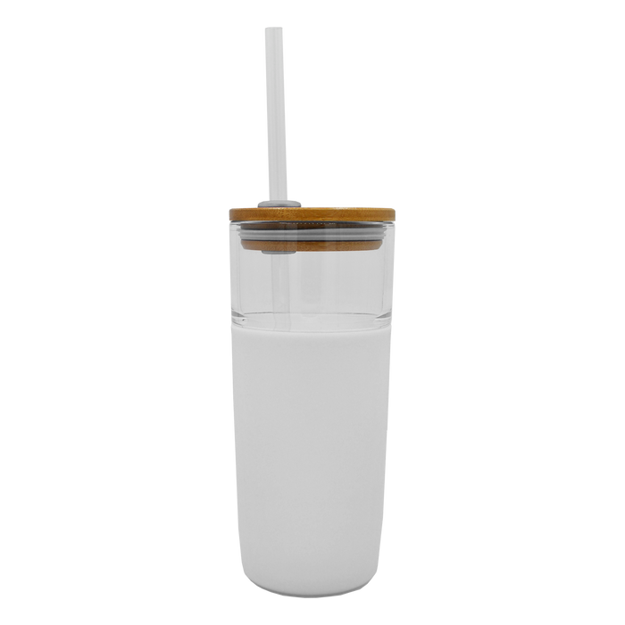 White Glass Tumbler with Straw