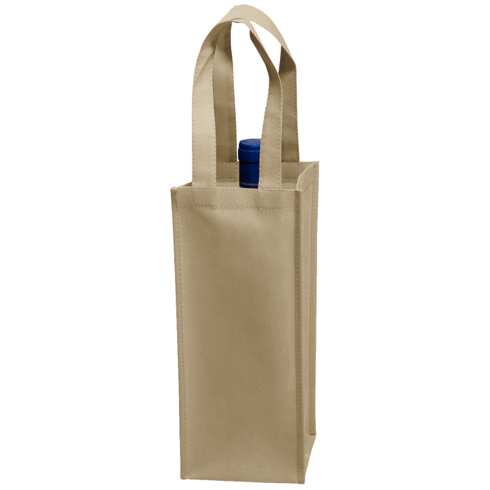 Light Khaki Single Bottle Wine Tote