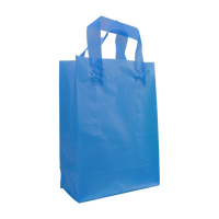 Blue Small Frosted Plastic Shopper Thumb