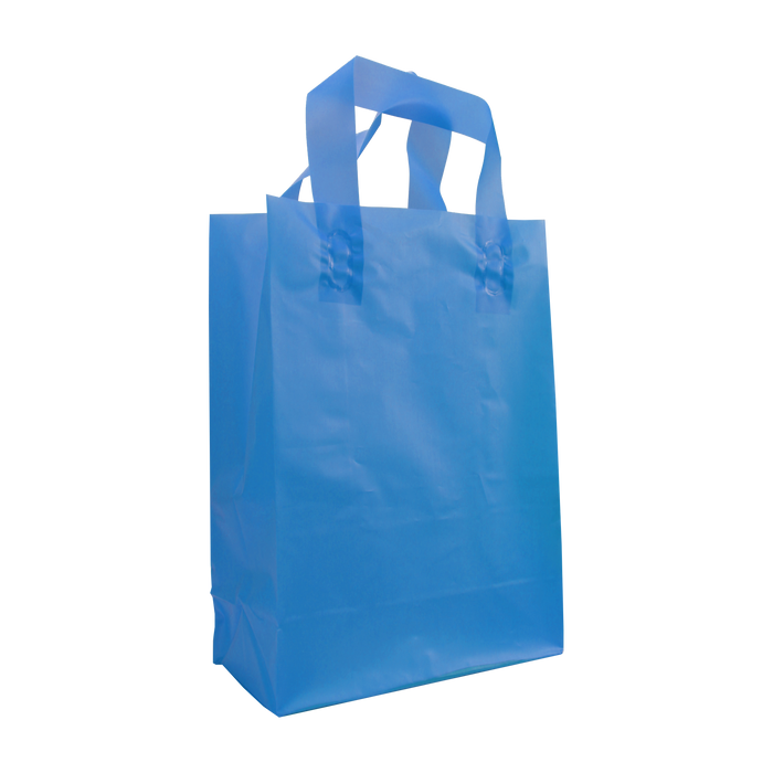 Blue Small Frosted Plastic Shopper