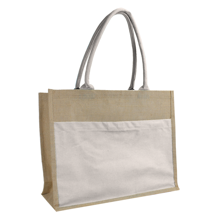 Natural Organic Jute Canvas Beach Tote