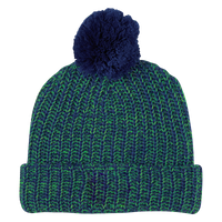 Blue and Green Knit Knit Pom Beanie Thumb
