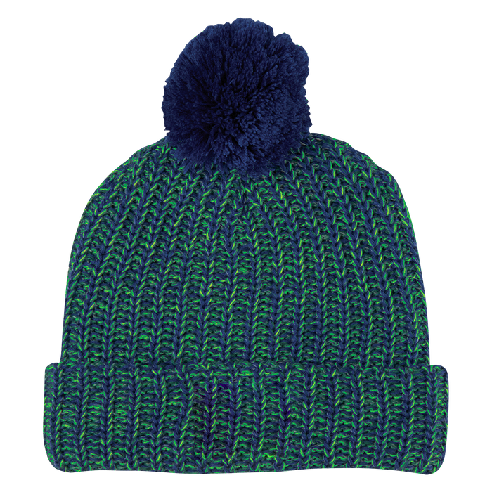 Blue and Green Knit Knit Pom Beanie