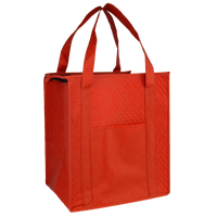 Red Insulated Tote with Pocket Thumb
