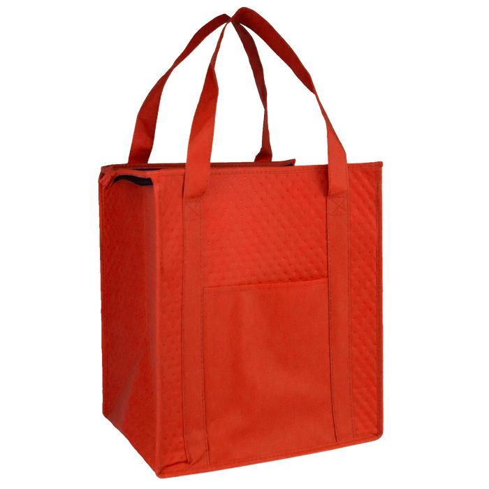 Red Insulated Tote with Pocket