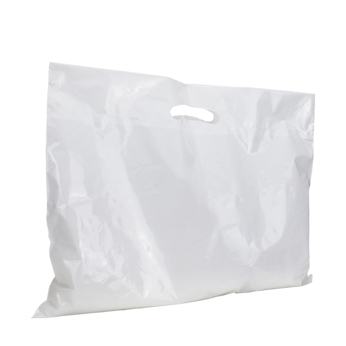 White Extra Wide Recyclable Die Cut Plastic Bag
