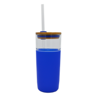 Blue Glass Tumbler with Straw Thumb