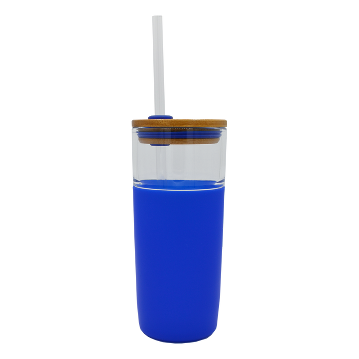 Blue Glass Tumbler with Straw