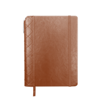 Tan Quilted Faux Leather Journal with Pen Thumb