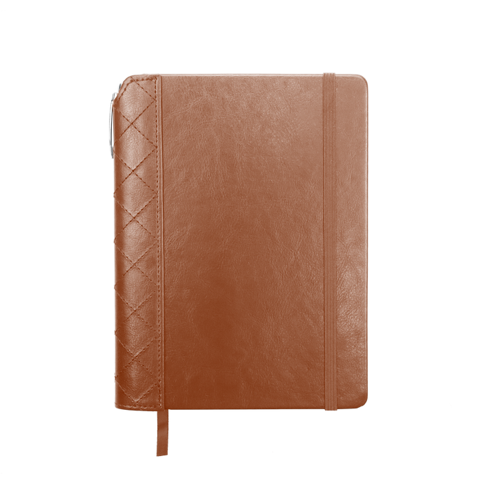 Tan Quilted Faux Leather Journal with Pen