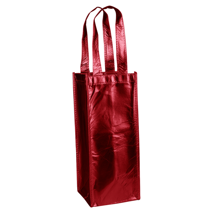 Metallic Red Laminated Single Bottle Wine Tote