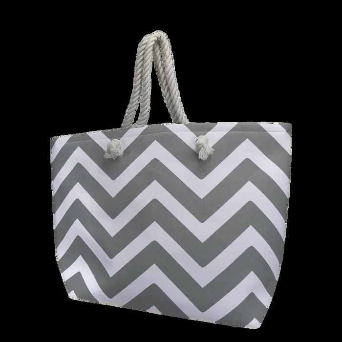 Grey Cabana Beach Bag