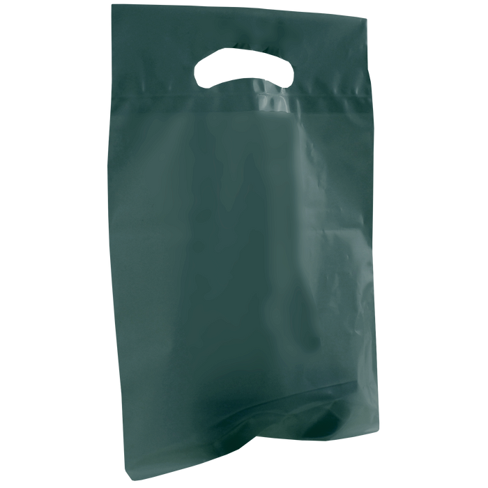 Hunter Green Small Recyclable Die Cut Plastic Bag