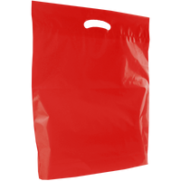 Red Large Eco-Friendly Die Cut Plastic Bag Thumb