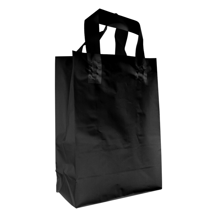 Black Medium Frosted Plastic Shopper