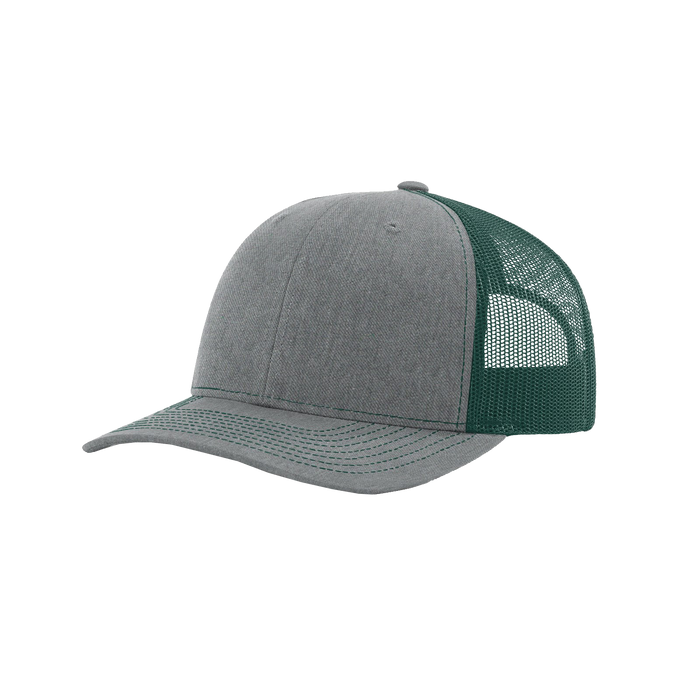 Heather Grey/Dark Green Richardson Trucker Snapback Hat