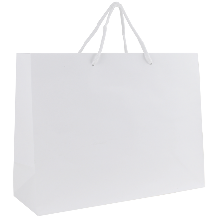 White Medium Glossy Shopper Bag