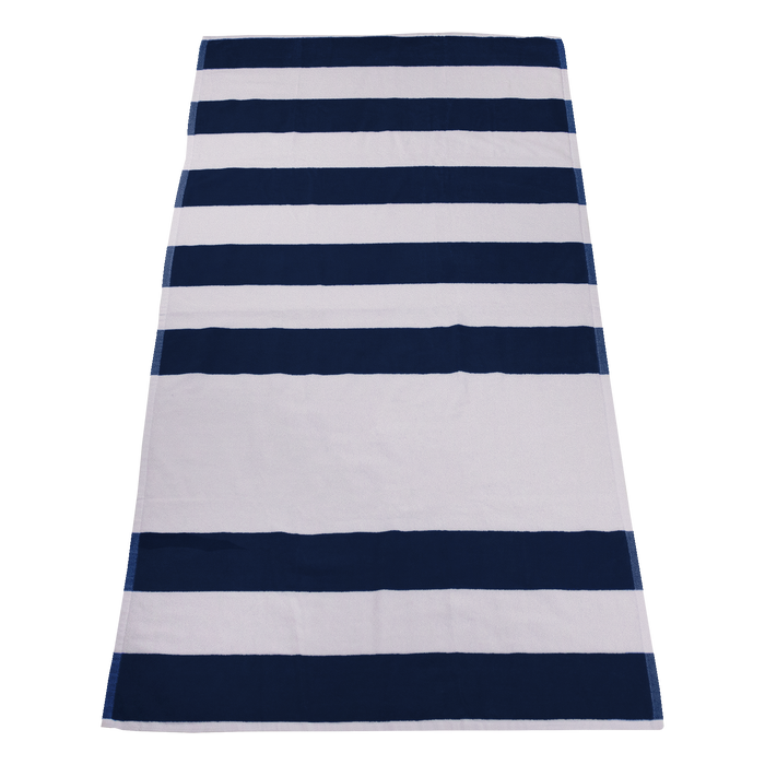 Navy Horizon Striped Beach Towel